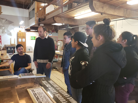Students participating in the UA's ASEMS program visit the Xerocraft Hackerspace in Tucson. (Photo: ASEMS)