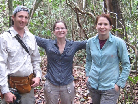 Brian Enquist, Vanessa Buzzard and Amanda Henderson taking a break from setting up a plot at the Smithsonian Tropical Research Institute Barro Colorado Island in the Panama canal in 2012. (Courtesy: Brian Enquist)