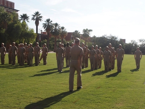 Prospective cadets who finish the UA Naval ROTC's new student orientation over the summer attend an integration ceremony to officially become cadets. (Photo: UA NROTC)