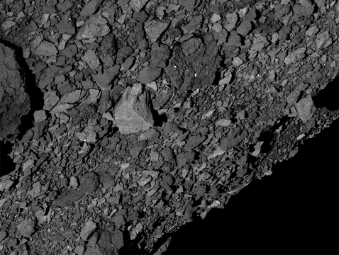 Bennu's surface is rockier than expected, creating challenges for the team whose mission is to scoop up a sample of pristine material and return it to Earth in 2023. (Image: NASA/Goddard/UA)