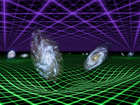 Astronomers think that the expansion of the universe is regulated by both the force of gravity, which acts to slow it down, and a mysterious dark energy, which pushes matter and space apart at faster and faster speeds. In this artist's conception, dark energy is represented by the purple grid above and gravity by the green grid below. Gravity emanates from all matter in the universe, even dark matter. (Image: NASA/JPL-Caltech)