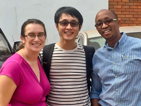 "Left to right: Esther Freeman, director of global health dermatology at Massachusetts General Hospital; Dongkyun ""DK"" Kang, UA assistant professor; and Dr. Aggrey Semeere, physician research scientist at the Ugandan Infectious Diseases Institute."
