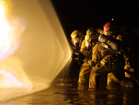 UArizona researchers are leading a study that aims to understand the health risks associated with chemicals used in firefighters' protective equipment and foam used to put out fires. (Photo courtesy of the Tucson Fire Department)