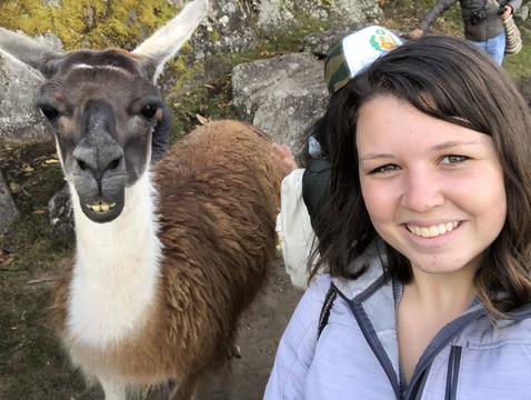 Gracie Krigbaum with a llama in Machu Picchu during a trip to Peru.