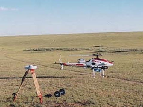 The RC helicopter in the Mongolian grasslands, July 1999.