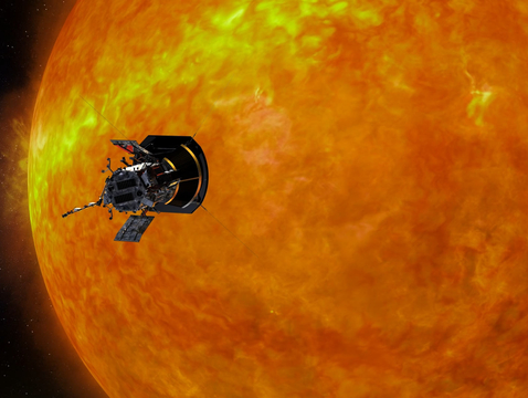 NASA's Parker Solar Probe approaching the sun. (Image: Johns Hopkins University Applied Physics Laboratory)