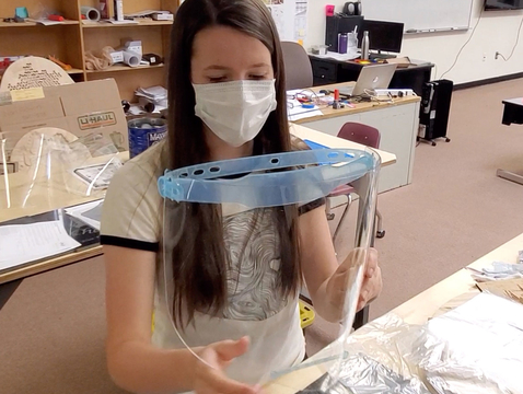 Blue Ridge High School senior Emily Halls works on a face shield in the Fab Lab. (Photo by Chris Paxman)