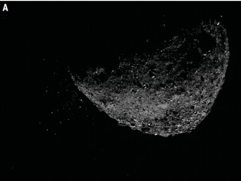 This view of asteroid Bennu ejecting particles from its surface on January 6 was created by combining two images taken by the NavCam 1 imager onboard NASA's OSIRIS-REx spacecraft: a short exposure image (1.4 ms), which shows the asteroid clearly, and a long exposure image (5 sec), which shows the particles clearly. (Photo: NASA/Goddard/University of Arizona/Lockheed Martin)