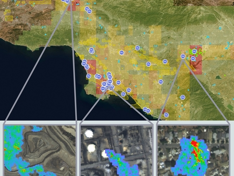 Views from NASA's Methane Source Finder, a tool that provides methane data for the state of California. The data are derived from airborne remote-sensing, surface-monitoring networks and satellites and are presented on an interactive map alongside infrastructure information. (Credit: NASA/JPL-Caltech)