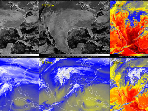 NOAA's newest weather satellite took these photos of Earth from 22,300 miles in January. (Courtesy of NOAA)