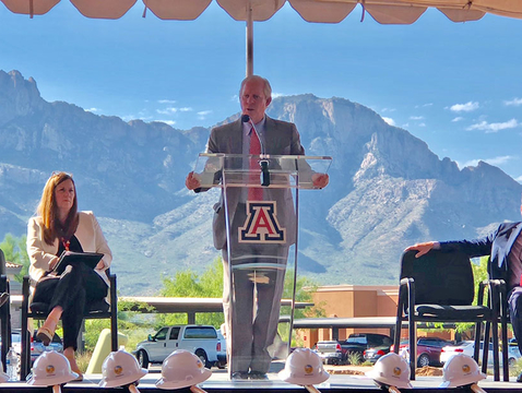 UA President Robert C. Robbins delivers remarks at the University of Arizona Center for Innovation at Oro Valley groundbreaking ceremony. (Photo: Andy Ober/UANews)