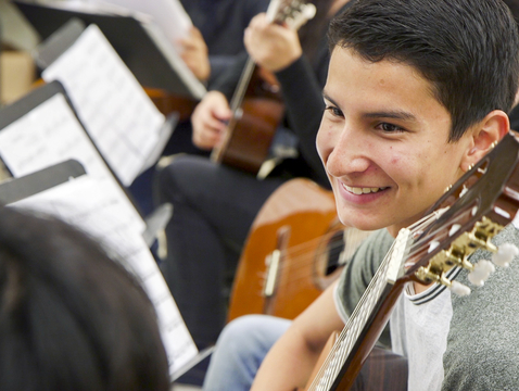 Pablo Esteban Quiñonez Paz learned to play guitar through Lead Guitar, part of the UA CFA in Schools outreach program. He plans to pursue a degree in music at the UA. (Photo: Bob Demers/UANews)