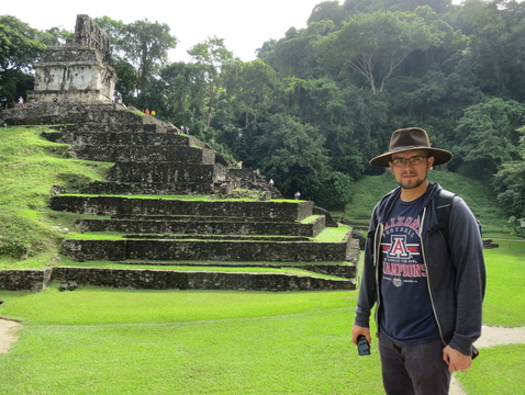 Edward Anthony Polanco stands outside a temple in the pre-Columbian Maya site known as Palenque, located in the state of Chiapas in southern Mexico.