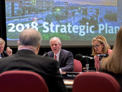 UA President Robert C. Robbins presented the university's strategic plan to the Arizona Board of Regents during a four-hour session Friday, Nov. 16. (Photo: Christopher Richards)