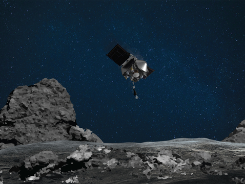 This artist's concept shows NASA's OSIRIS-REx spacecraft descending towards asteroid Bennu to collect a sample of the asteroid's surface. (Image: NASA/Goddard/University of Arizona)