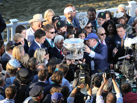 The scene after UA alumnus Bob Baffert's horse, American Pharoah, won the Belmont Stakes — and the Triple Crown — won't soon be forgotten. (Photo: Horsephotos.com)