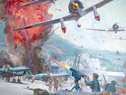 """A conceptual painting by Robert McCall for the film """"Tora! Tora! Tora!"""" (Photo courtesy of the UA Museum of Art)"""