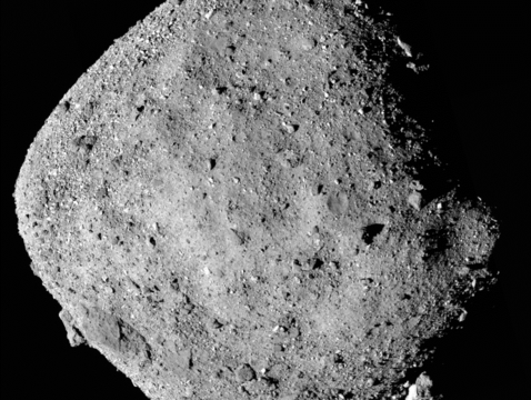 This mosaic image of asteroid Bennu is composed of 12 PolyCam images collected on Dec. 2 by the OSIRIS-REx spacecraft from a range of 15 miles (24 km). (Image: NASA/Goddard/University of Arizona)