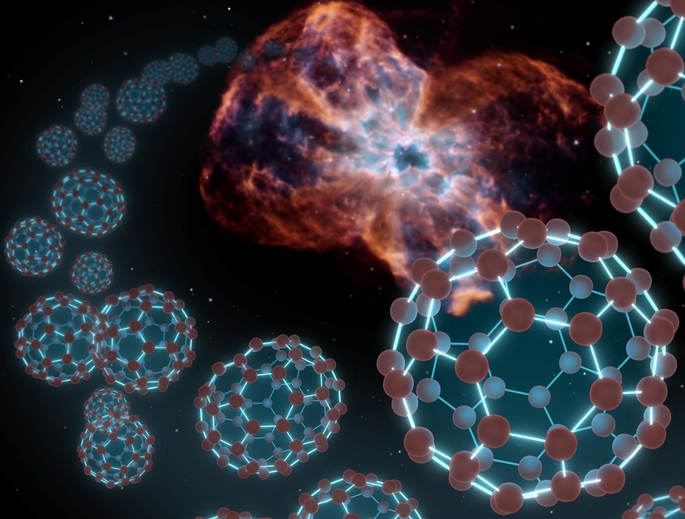"An artist's conception showing spherical carbon molecules known as buckyballs coming out from a planetary nebula — material shed by a dying star. Researchers at the University of Arizona have now created these molecules under laboratory conditions thought to mimic those in their ""natural"" habitat in space. (Image: NASA/JPL-Caltech)"