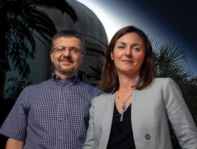 Dimitrios Pslatis, EHT project scientist, and Feryal Ozel, lead of the modeling analysis working group, are two of several University of Arizona researchers who contributed to the Event Horizon Telescope project, which was awarded the Breakthrough Prize in Fundamental Physics. (Photo: Bob Demers/UANews)