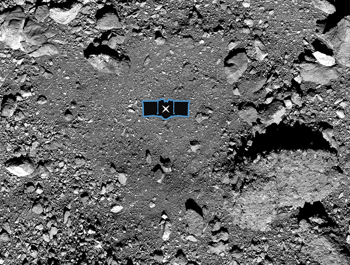 This image shows sample site Nightingale, OSIRIS-REx's primary sample collection site on asteroid Bennu. The image is overlaid with a graphic of the OSIRIS-REx spacecraft to illustrate the scale of the site. (Image: NASA/Goddard/University of Arizona)