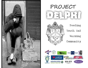 """Project Delphi: Feeding Youth and Warming Community,"" organized by the Delta Lambda Phi fraternity, collected non-perishable food items and winter clothing for the Eon Youth Program."