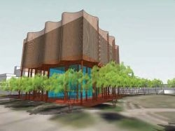A rendition of the Bryant Bannister Tree-Ring Building.
