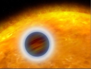 Puffed-Up Atmosphere of a Star-Hugging Gas Giant Planet - This artist's illustration shows an extrasolar planet orbiting very close to its host star. The planet, designated HD 209458b, is about the size of Jupiter. Unlike Jupiter, the planet is so hot that its atmosphere is 'puffed up.' Starlight is heating the planet's atmosphere, causing hot got to escape into space like stream rising from a boiler.HD 209458b completes an orbit every 3.5 days. The Hubble Space Telescope could not image the planet directly because it is too close to the star. Astronomers used Hubble to analyze the starlight that filtered through the planet's atmosphere. Imprinted on the starlight is information about the atmosphere's structure and chemical makeup. (Credit: NASA, ESA and G. Bacon of StScI)