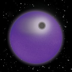 "The solar-type star, HD 209458, and its 'hot Jupiter"" planet in transit are shown in simulated violet light. As in this illustration, the star would appear as a limb-darkened purple disk if seen in near-ultraviolet and violet light. The newly detected dense, narrow layer of hot hydrogen atoms is represented by the dark absorbing ring around the opaque planetary disk. The bulk of hydrogen atoms in the upper atmosphere, which forms an extensive cloud and also a comet-like tail, is shown in white. The absorbing layer was drawn at twice the altitude and 10 times the thickness to be more easily visible in this illustration, the rest of which has been drawn to scale. (Art credit: Loretta McKibben, UA Lunar and Planetary Lab)."