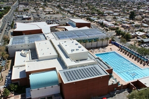 The UA Student Recreation Center's rooftop solar thermal systems utilize the famous Arizona sunlight to heat water for the building's needs. (Image credit: APS Energy Services)