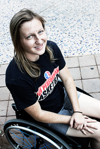 "UA team member Courtney Ryan said: ""Living with a spinal cord injury has been life changing, but I have learned so much about myself and my ability to adapt and achieve that I am constantly surprised. I am very grateful to the Disability Resource Center at the UA and coach Pete (Hughes) for believing in my potential and giving me the opportunity to establish a very special life here in Tucson."" (Photo credit: Beatriz Verdugo/UANews)"
