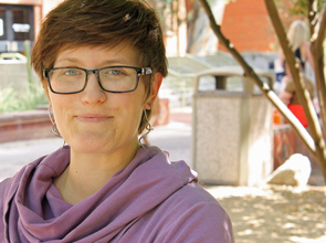 """The fellowship recognizes women conducting innovative scholarship by honoring the many ways that we have to go above-and-beyond to earn a degree because of the many challenges that still exist for us in higher education: overt and covert sexism, bearing the primary burden for reproductive labor, underrepresentation in tenured positions, lack of mentoring, and more,"" said Erin Durban-Albrecht. (Photo credit: Beatriz Verdugo/UANews)"