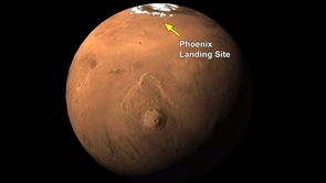The Phoenix Mars Mission landed at 68.2 degrees north latitude, 234.2 degrees east longitude. The far-northern location of the site is indicated on this global view from the Mars Orbiter Camera on NASA's Mars Global Surveyor.