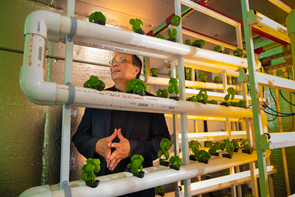 Joel Cuello believes minimally structured, modular, pre-fabricated vertical farm design systems will play an integral role in making vertical farms commercially feasible in the future. (Photo: Bob Demers/UA News)