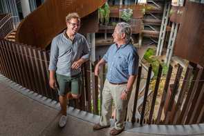 UA doctoral candidate Connor Nolan and U.S. Geological Survey researcher Stephen Jackson in the UA's ENR2 building. (Photo: Bob Demers/UA News)