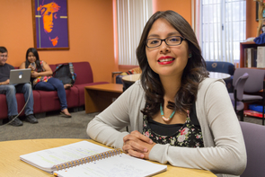 """""""The policy has enabled me to pay in-state tuition instead of out-of-state, which has been very helpful,"""" said Sheilah Allison (Navajo), a physiology major from Mesa, Arizona. (Photo: Beatriz Verdugo/UANews)"""