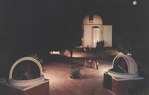"""This 1955 postcard shows Steward Observatory with its two """"baby domes"""" — one of which has since been transferred to Tumamoc Hill west of Tucson."""