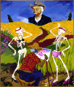 """Robert Colescott used acrylic on canvas for his """"Auvers-sur-Oise (Crow in the Wheat Field),"""" which was painted in 1981. (Photo courtesy of the Gift of the Women's Committee of the Corcoran Gallery of Art)"""