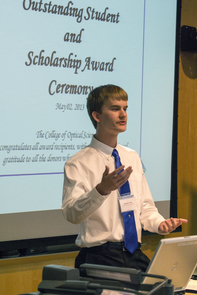 Cromey at the 2013 College of Optical Sciences award ceremony. (Image courtesy of Kristin Waller)