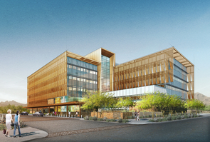 A rendition of the future UA Cancer Center facility in Phoenix, from southwest looking northeast.
