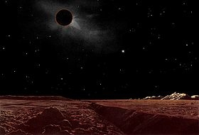 An artistic rendition of how a lunar eclipse might look from the moon by artist Lucien Rudaux.