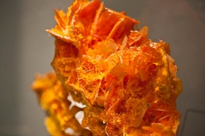 Wulfenite and mimetite from Tiger mine in Arizona are among the minerals in the UA Mineral Museum collection. On Feb. 3, the museum will open a one-year exhibition of the gems and minerals that helped solidify Arizona's statehood. (Photo credit: Patrick McArdle/UANews)