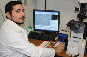 While it is widely known that drugs such as Ecstasy can have lasting and damaging effects on brain cells, scientists are still working to garner a better understanding of the mechanisms involved. UA undergraduate researcher Aram B. Cholanians is studying the neurotoxicity of Ecstacy as part of UBRP, which allows him – and other students in the program – access to funds matched by his faculty mentor and an external source. (Photo credit: Beatriz Verdugo/UANews)