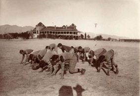 The UA's football team, practicing in a field near Old Main, won the first Territorial Football Championship. (Photo courtesy of the UA Special Collections)