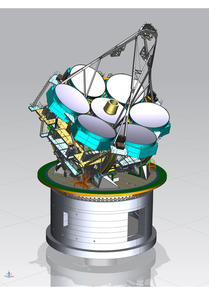 The GMT telescope structure showing the six off-axis mirror segments arrayed around a central segment, each spanning 27 feet. Together, they comprise GMT's unique primary mirror configuration (Image: Giant Magellan Telescope/GMTO)