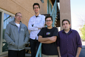 """Left to right: Cody Jorgensen, James Magahern, Charles Magahern and Tom Smallwood. Charles Magahern said: """"I'm drawn to Apple products because there is a distinguishable amount of attention-to-detail that goes into the design of their products."""" (Photo by Beatriz Verdugo/UANews)"""
