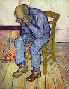 "Vincent van Gogh, himself a victim of suicide, captures despair in his 1890 painting ""At Eternity's Gate."""