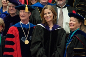 """Savannah Guthrie, center, was a UA commencement speaker in 2011. She has been named co-anchor of """"TODAY"""" with Matt Lauer. (Photo by Patrick McArdle/UANews)"""