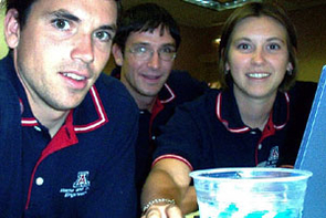 UA industrial engineering students took a moment to photograph themselves with a digital camera during the final competition at the IIE/Rockwell Student Software Simulation Contest in Orlando, Fla. They are, from left, Gavin Ekins, Mark Hutzler and Lisa Hardegree. The students placed first in the contest, ahead of 53 other teams from 33 schools.