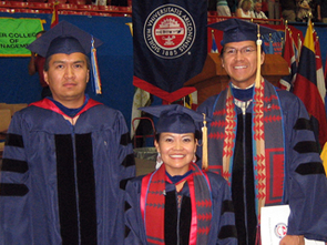 Julius Yellowhair (left), Karletta Chief (center) and Pete Littlehat after receiving their Ph.D. degrees during spring 2007 Commencement.